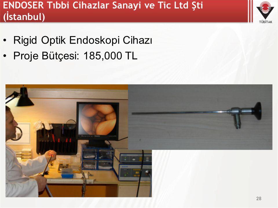 TÜBİTAK ENDOSER Tıbbi Cihazlar Sanayi ve Tic Ltd Şti (İstanbul) Rigid Optik Endoskopi Cihazı Proje Bütçesi: 185,000 TL 28