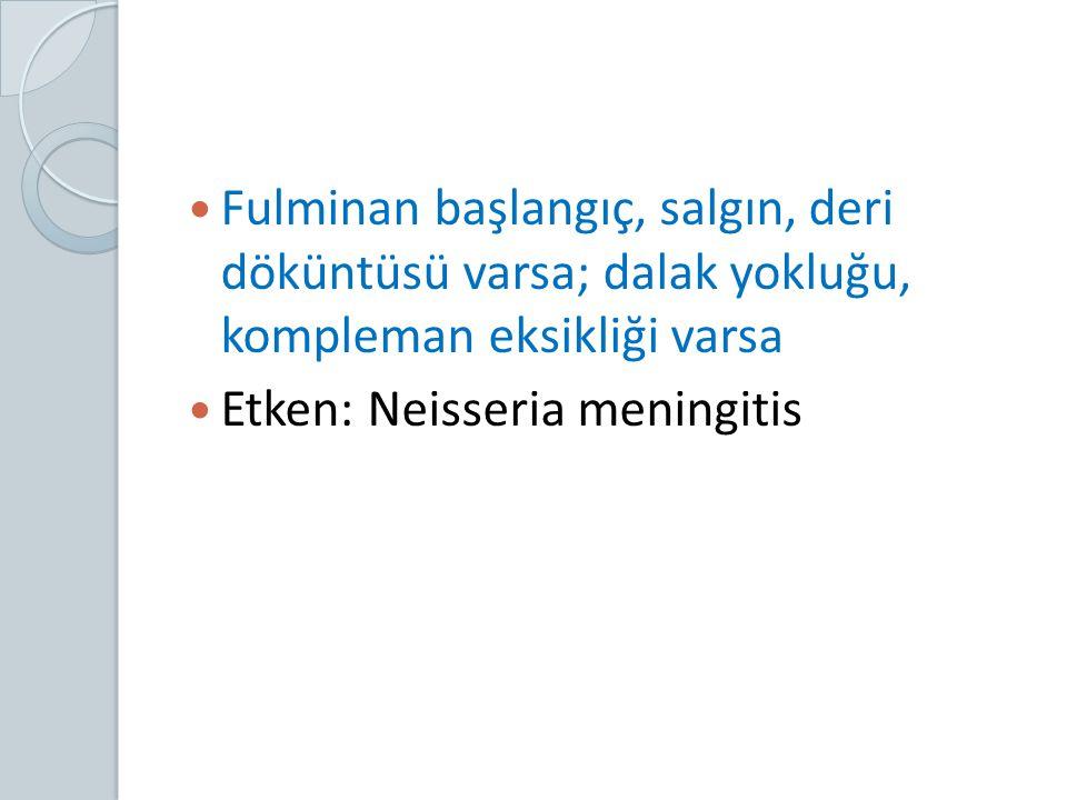 Fulminan başlangıç, salgın, deri döküntüsü varsa; dalak yokluğu, kompleman eksikliği varsa Etken: Neisseria meningitis