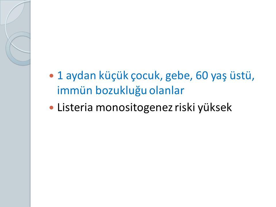 1 aydan küçük çocuk, gebe, 60 yaş üstü, immün bozukluğu olanlar Listeria monositogenez riski yüksek