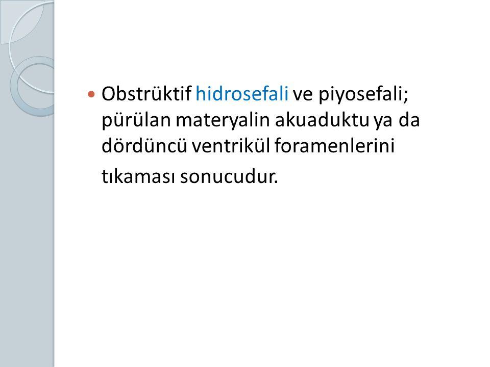 Obstrüktif hidrosefali ve piyosefali; pürülan materyalin akuaduktu ya da dördüncü ventrikül foramenlerini tıkaması sonucudur.