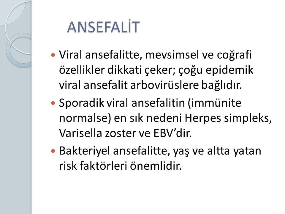 ANSEFALİT ANSEFALİT Viral ansefalitte, mevsimsel ve coğrafi özellikler dikkati çeker; çoğu epidemik viral ansefalit arbovirüslere bağlıdır. Sporadik v