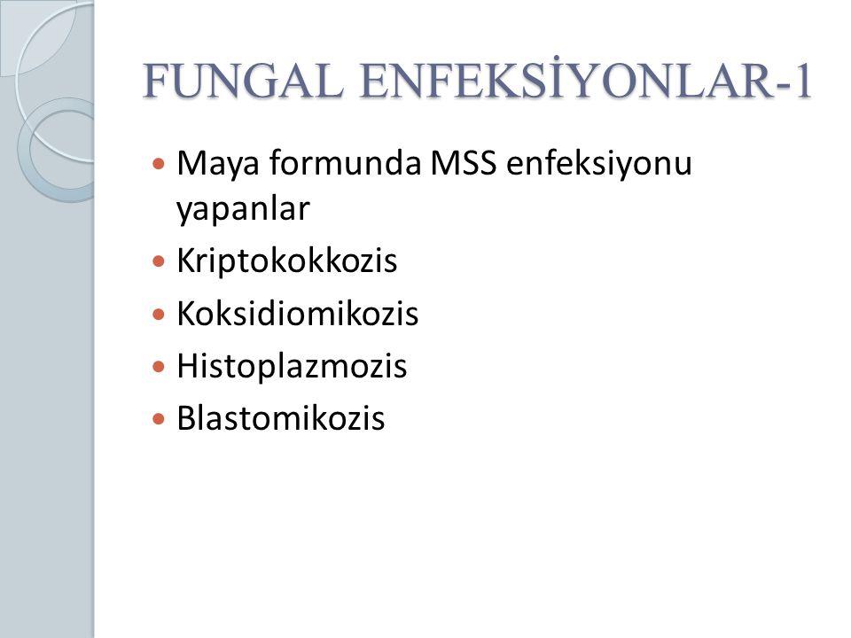 FUNGAL ENFEKSİYONLAR-1 Maya formunda MSS enfeksiyonu yapanlar Kriptokokkozis Koksidiomikozis Histoplazmozis Blastomikozis