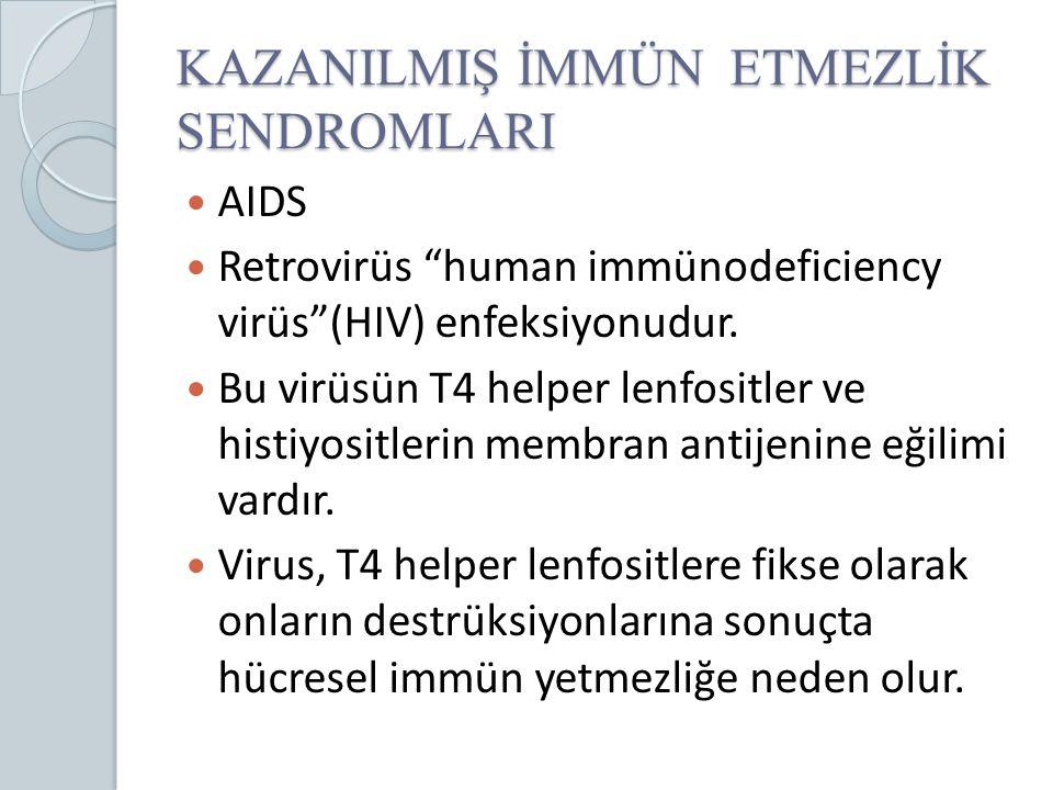 """KAZANILMIŞ İMMÜN ETMEZLİK SENDROMLARI AIDS Retrovirüs """"human immünodeficiency virüs""""(HIV) enfeksiyonudur. Bu virüsün T4 helper lenfositler ve histiyos"""