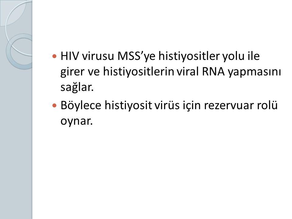 HIV virusu MSS'ye histiyositler yolu ile girer ve histiyositlerin viral RNA yapmasını sağlar. Böylece histiyosit virüs için rezervuar rolü oynar.