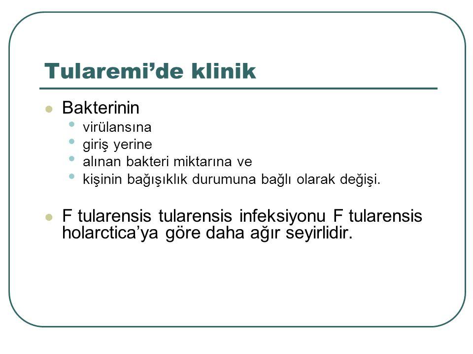 Tularemi'de klinik Bakterinin virülansına giriş yerine alınan bakteri miktarına ve kişinin bağışıklık durumuna bağlı olarak değişi. F tularensis tular