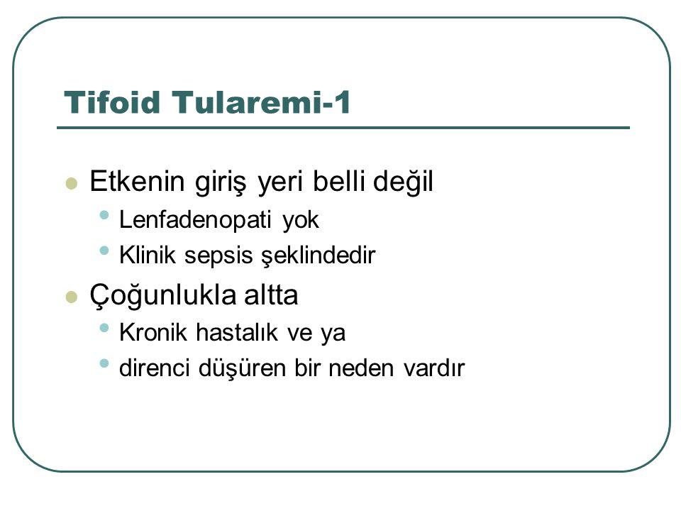 Tifoid Tularemi-1 Etkenin giriş yeri belli değil Lenfadenopati yok Klinik sepsis şeklindedir Çoğunlukla altta Kronik hastalık ve ya direnci düşüren bi