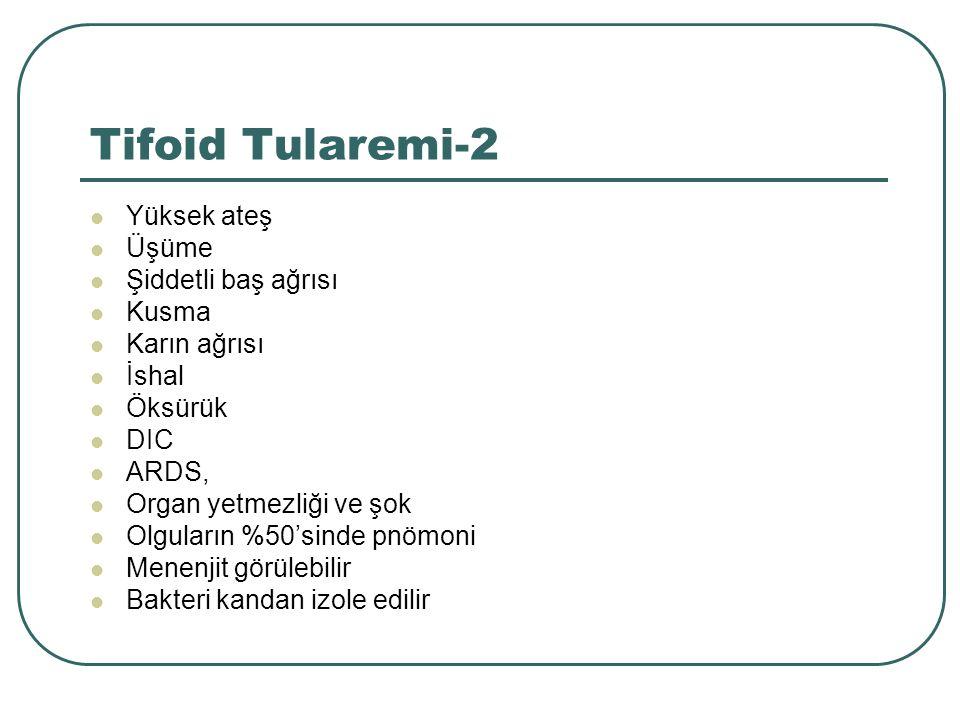Tifoid Tularemi-2 Yüksek ateş Üşüme Şiddetli baş ağrısı Kusma Karın ağrısı İshal Öksürük DIC ARDS, Organ yetmezliği ve şok Olguların %50'sinde pnömoni