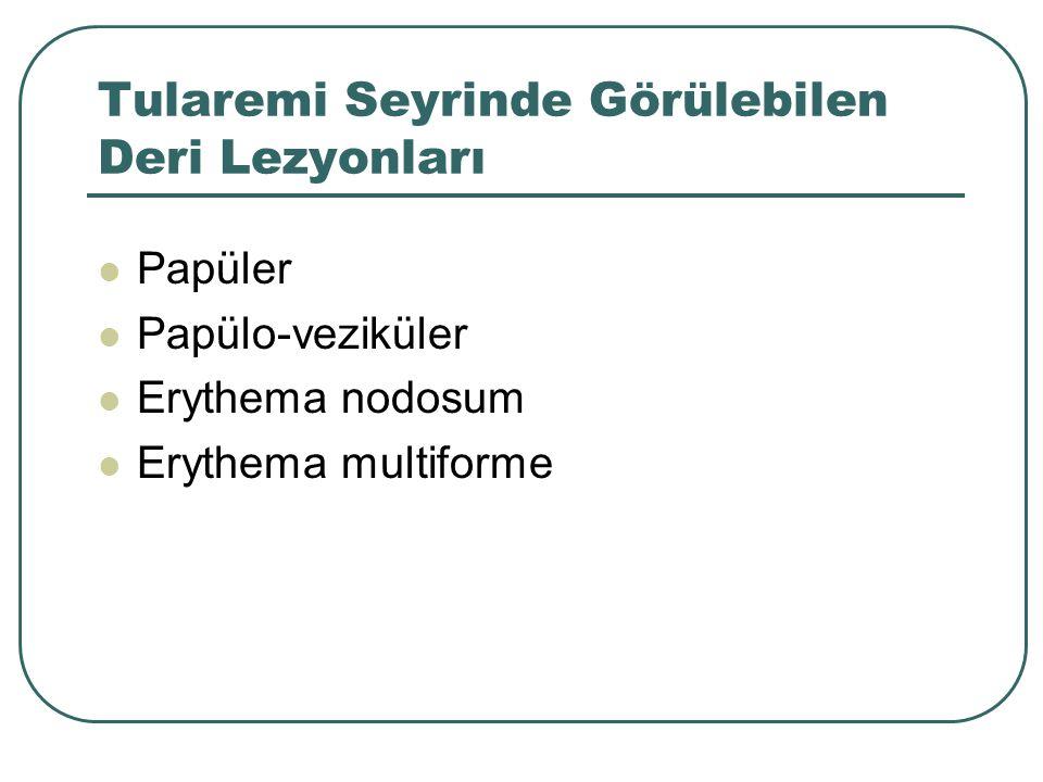 Tularemi Seyrinde Görülebilen Deri Lezyonları Papüler Papülo-veziküler Erythema nodosum Erythema multiforme