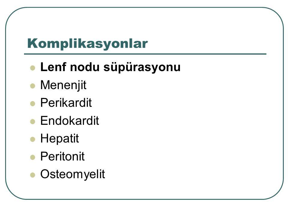 Komplikasyonlar Lenf nodu süpürasyonu Menenjit Perikardit Endokardit Hepatit Peritonit Osteomyelit