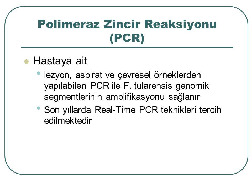 Polimeraz Zincir Reaksiyonu (PCR) Hastaya ait lezyon, aspirat ve çevresel örneklerden yapılabilen PCR ile F. tularensis genomik segmentlerinin amplifi