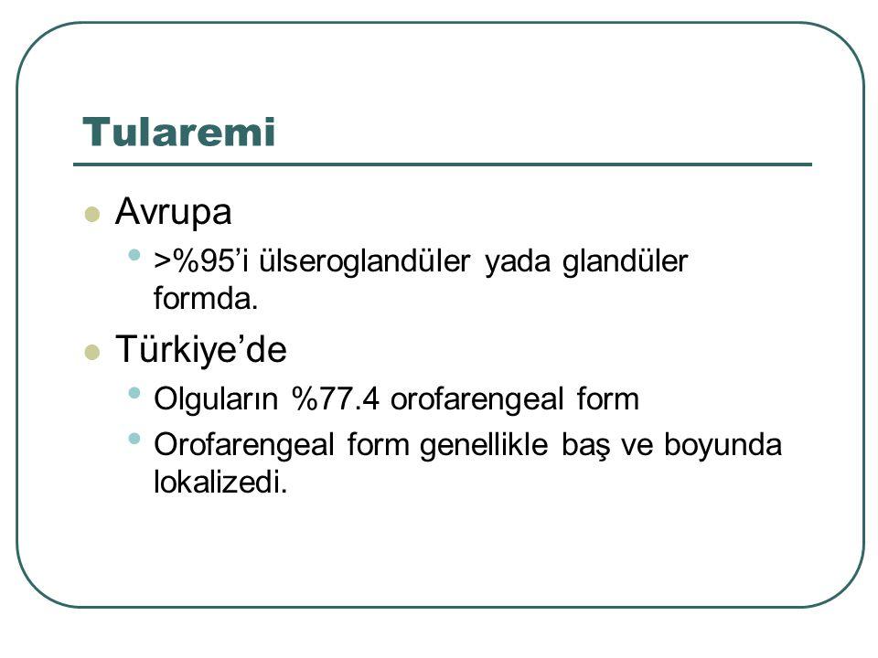 Tularemi Avrupa >%95'i ülseroglandüler yada glandüler formda. Türkiye'de Olguların %77.4 orofarengeal form Orofarengeal form genellikle baş ve boyunda