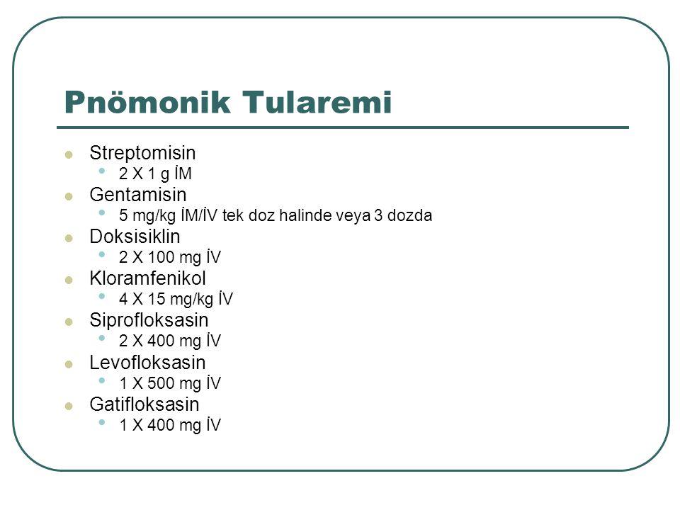 Pnömonik Tularemi Streptomisin 2 X 1 g İM Gentamisin 5 mg/kg İM/İV tek doz halinde veya 3 dozda Doksisiklin 2 X 100 mg İV Kloramfenikol 4 X 15 mg/kg İ