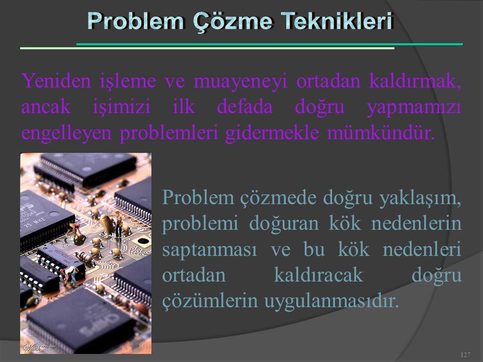 127 Yeniden işleme ve muayeneyi ortadan kaldırmak, ancak işimizi ilk defada doğru yapmamızı engelleyen problemleri gidermekle mümkündür. Problem çözme