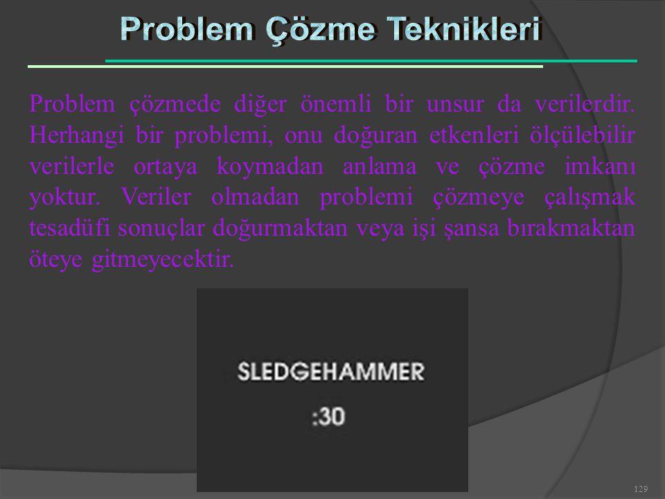 129 Problem çözmede diğer önemli bir unsur da verilerdir. Herhangi bir problemi, onu doğuran etkenleri ölçülebilir verilerle ortaya koymadan anlama ve