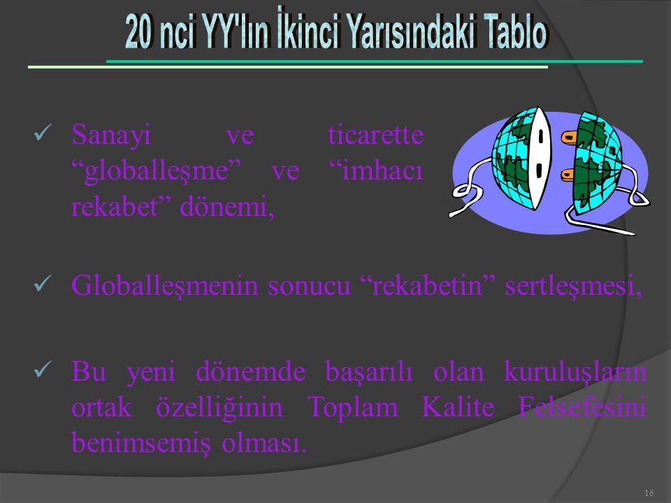 """16 ü Sanayi ve ticarette """"globalleşme"""" ve """"imhacı rekabet"""" dönemi, ü Globalleşmenin sonucu """"rekabetin"""" sertleşmesi, ü Bu yeni dönemde başarılı olan ku"""