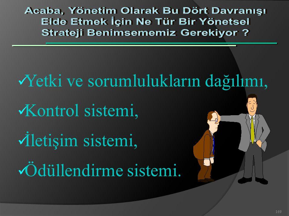 169 Yetki ve sorumlulukların dağılımı, Kontrol sistemi, İletişim sistemi, Ödüllendirme sistemi.