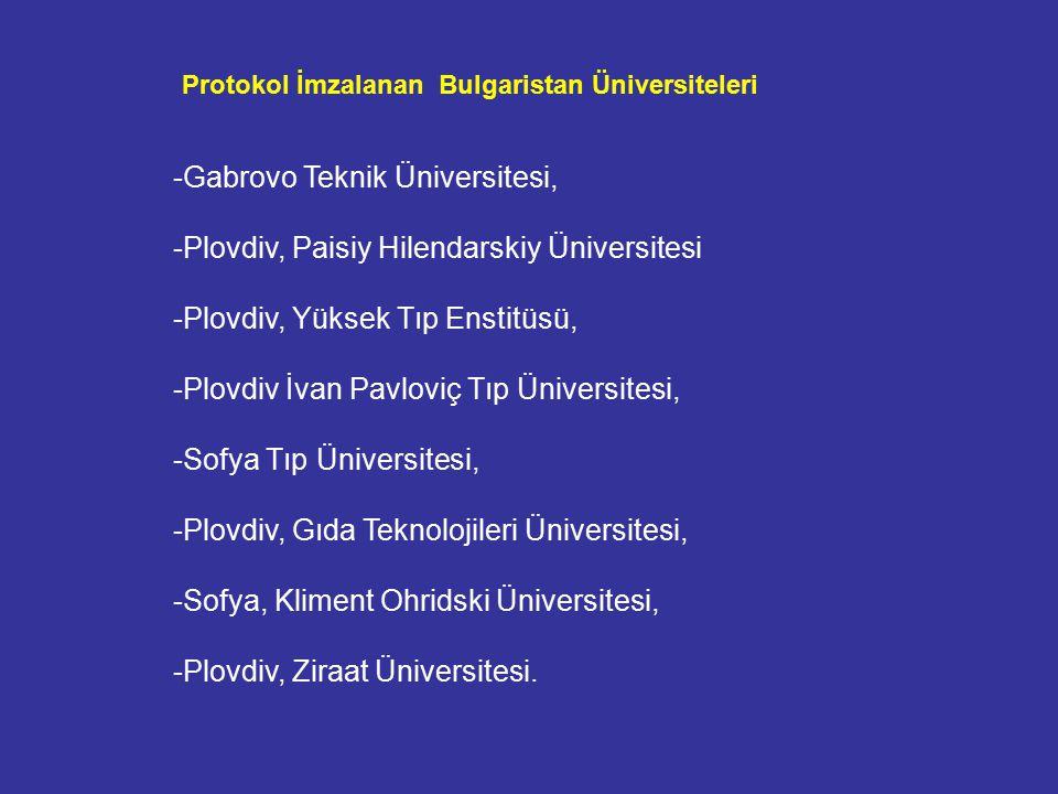 -Gabrovo Teknik Üniversitesi, -Plovdiv, Paisiy Hilendarskiy Üniversitesi -Plovdiv, Yüksek Tıp Enstitüsü, -Plovdiv İvan Pavloviç Tıp Üniversitesi, -Sofya Tıp Üniversitesi, -Plovdiv, Gıda Teknolojileri Üniversitesi, -Sofya, Kliment Ohridski Üniversitesi, -Plovdiv, Ziraat Üniversitesi.