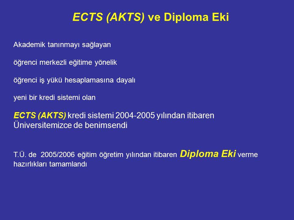 ECTS (AKTS) ve Diploma Eki Akademik tanınmayı sağlayan öğrenci merkezli eğitime yönelik öğrenci iş yükü hesaplamasına dayalı yeni bir kredi sistemi olan ECTS (AKTS) kredi sistemi 2004-2005 yılından itibaren Üniversitemizce de benimsendi T.Ü.