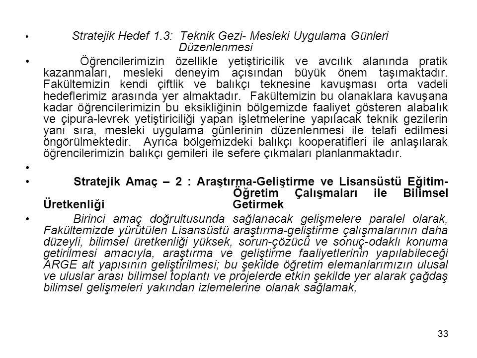 33 Stratejik Hedef 1.3: Teknik Gezi- Mesleki Uygulama Günleri Düzenlenmesi Öğrencilerimizin özellikle yetiştiricilik ve avcılık alanında pratik kazanmaları, mesleki deneyim açısından büyük önem taşımaktadır.