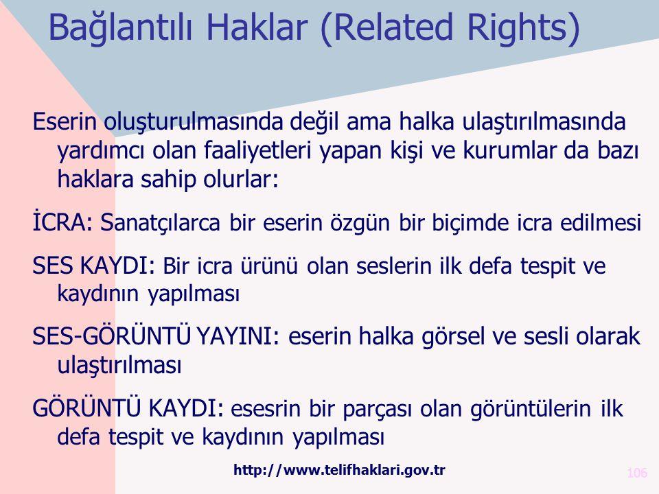 Bağlantılı Haklar (Related Rights) 106 Eserin oluşturulmasında değil ama halka ulaştırılmasında yardımcı olan faaliyetleri yapan kişi ve kurumlar da b