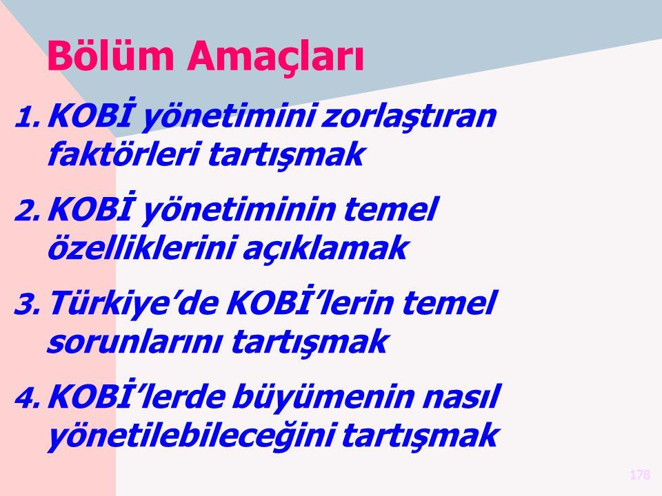 178 Bölüm Amaçları 1. KOBİ yönetimini zorlaştıran faktörleri tartışmak 2. KOBİ yönetiminin temel özelliklerini açıklamak 3. Türkiye'de KOBİ'lerin teme