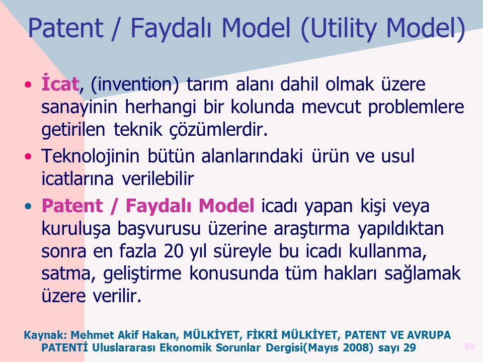 Patent / Faydalı Model (Utility Model) İcat, (invention) tarım alanı dahil olmak üzere sanayinin herhangi bir kolunda mevcut problemlere getirilen tek