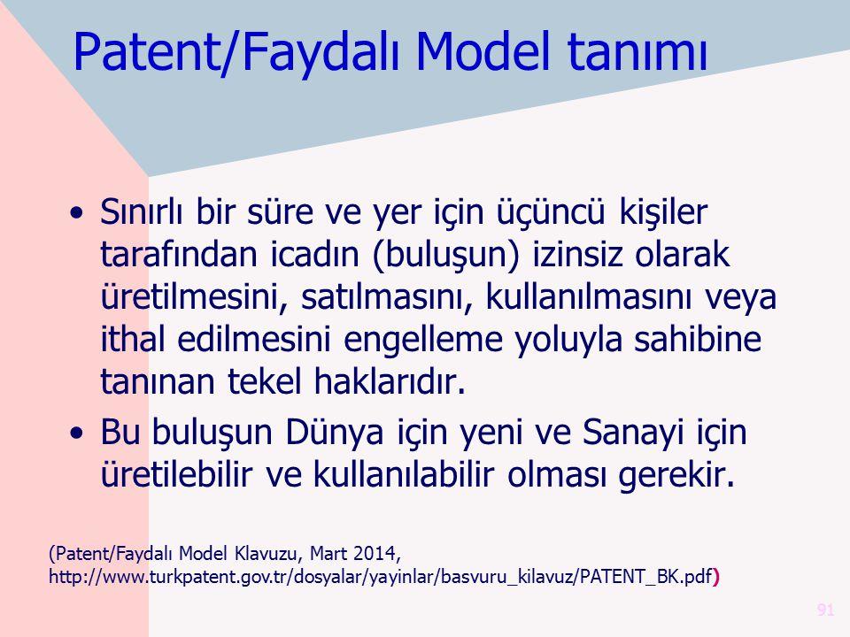 Patent/Faydalı Model tanımı Sınırlı bir süre ve yer için üçüncü kişiler tarafından icadın (buluşun) izinsiz olarak üretilmesini, satılmasını, kullanıl