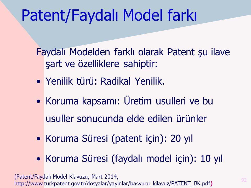 Patent/Faydalı Model farkı Faydalı Modelden farklı olarak Patent şu ilave şart ve özelliklere sahiptir: Yenilik türü: Radikal Yenilik. Koruma kapsamı: