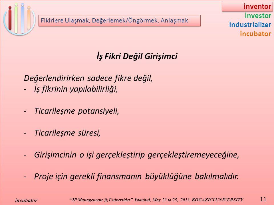 "inventor investor industrializer incubator ""IP Management @ Universities"" Istanbul, May 23 to 25, 2013, BOGAZICI UNIVERSITY incubator 11 Fikirlere Ula"