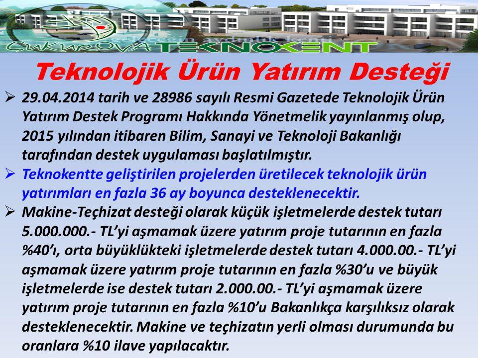  29.04.2014 tarih ve 28986 sayılı Resmi Gazetede Teknolojik Ürün Yatırım Destek Programı Hakkında Yönetmelik yayınlanmış olup, 2015 yılından itibaren