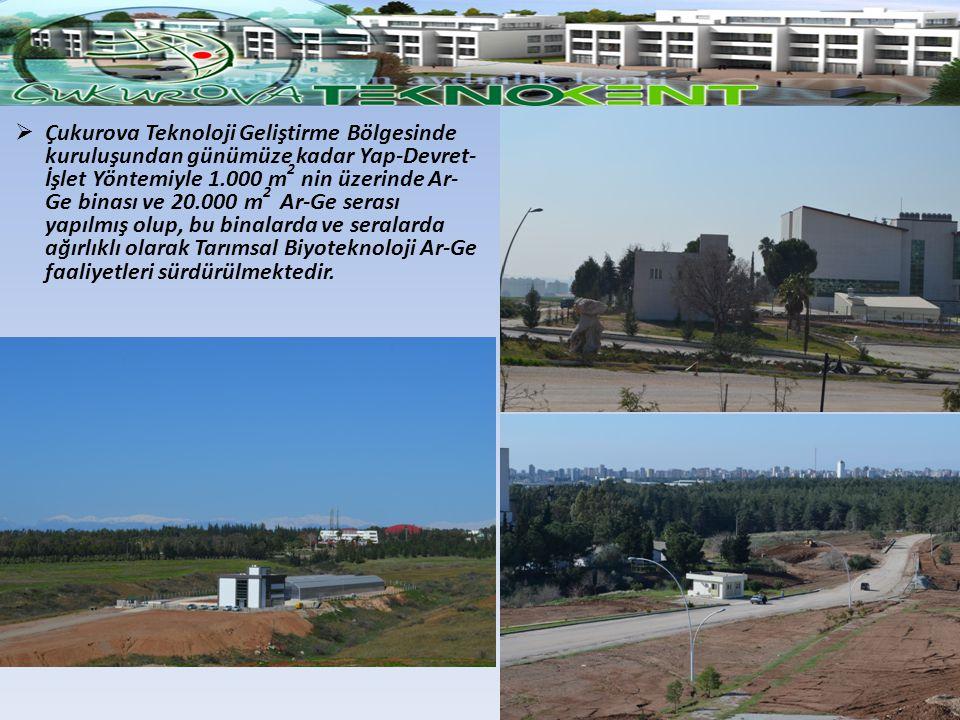  Çukurova Teknoloji Geliştirme Bölgesinde kuruluşundan günümüze kadar Yap-Devret- İşlet Yöntemiyle 1.000 m 2 nin üzerinde Ar- Ge binası ve 20.000 m 2