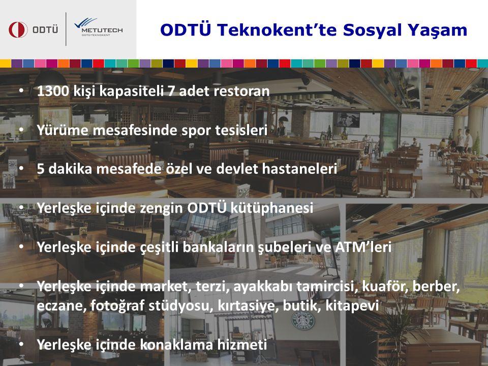 ODTÜ Teknokent'te Sosyal Yaşam 1300 kişi kapasiteli 7 adet restoran Yürüme mesafesinde spor tesisleri 5 dakika mesafede özel ve devlet hastaneleri Yer