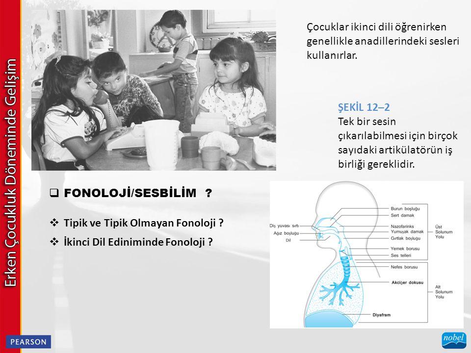  FONOLOJİ/SESBİLİM ? Çocuklar ikinci dili öğrenirken genellikle anadillerindeki sesleri kullanırlar.  Tipik ve Tipik Olmayan Fonoloji ?  İkinci Dil