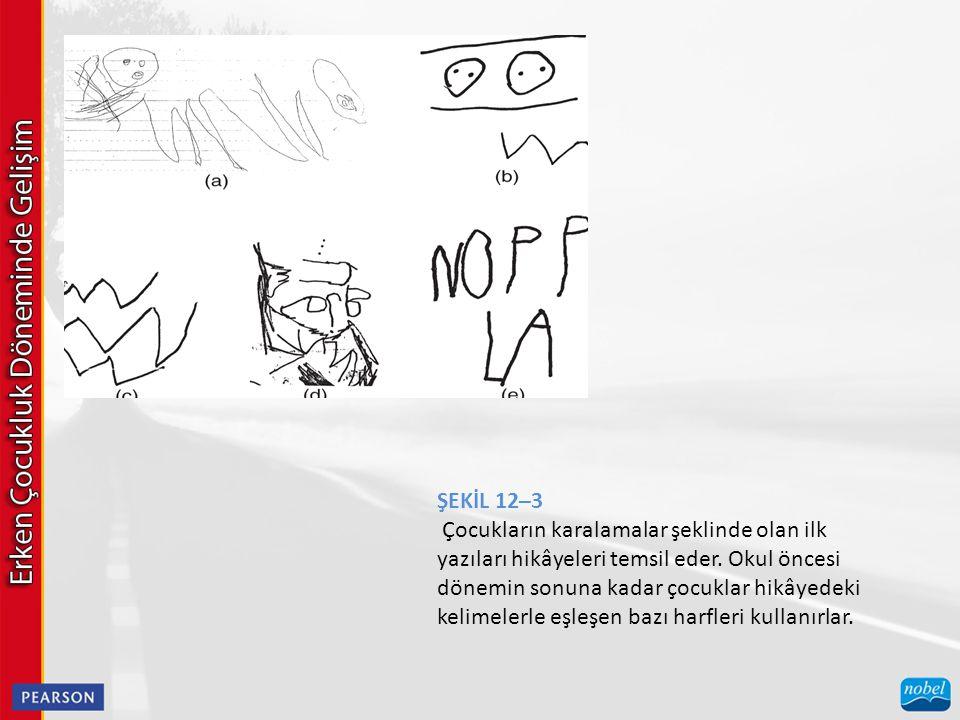 ŞEKİL 12–3 Çocukların karalamalar şeklinde olan ilk yazıları hikâyeleri temsil eder. Okul öncesi dönemin sonuna kadar çocuklar hikâyedeki kelimelerle