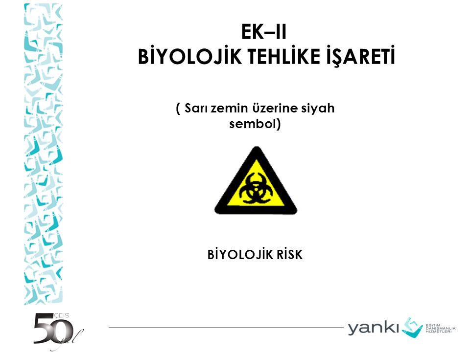 EK–II BİYOLOJİK TEHLİKE İŞARETİ ( Sarı zemin üzerine siyah sembol) BİYOLOJİK RİSK