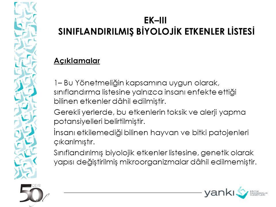 EK–III SINIFLANDIRILMIŞ BİYOLOJİK ETKENLER LİSTESİ Açıklamalar 1– Bu Yönetmeliğin kapsamına uygun olarak, sınıflandırma listesine yalnızca insanı enfe
