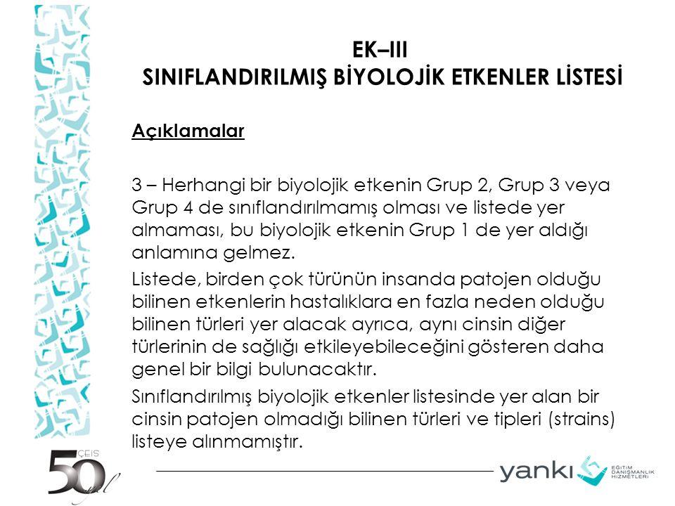 EK–III SINIFLANDIRILMIŞ BİYOLOJİK ETKENLER LİSTESİ Açıklamalar 3 – Herhangi bir biyolojik etkenin Grup 2, Grup 3 veya Grup 4 de sınıflandırılmamış olm