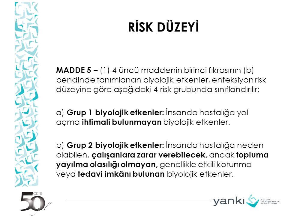 RİSK DÜZEYİ MADDE 5 – (1) 4 üncü maddenin birinci fıkrasının (b) bendinde tanımlanan biyolojik etkenler, enfeksiyon risk düzeyine göre aşağıdaki 4 ris