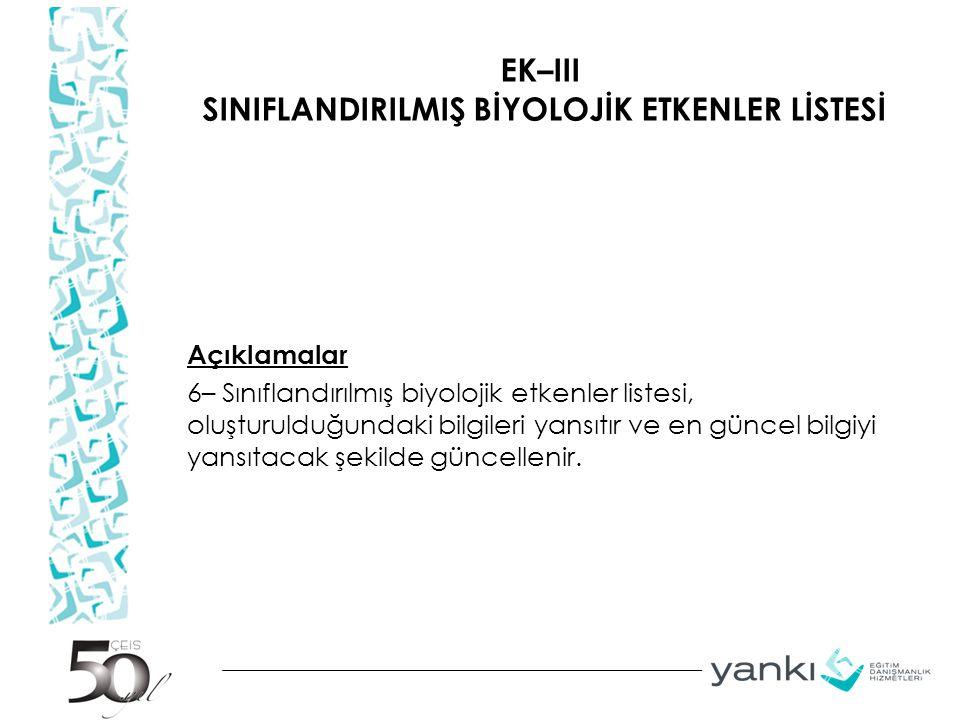 EK–III SINIFLANDIRILMIŞ BİYOLOJİK ETKENLER LİSTESİ Açıklamalar 6– Sınıflandırılmış biyolojik etkenler listesi, oluşturulduğundaki bilgileri yansıtır v