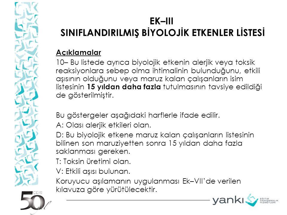 EK–III SINIFLANDIRILMIŞ BİYOLOJİK ETKENLER LİSTESİ Açıklamalar 10– Bu listede ayrıca biyolojik etkenin alerjik veya toksik reaksiyonlara sebep olma ih