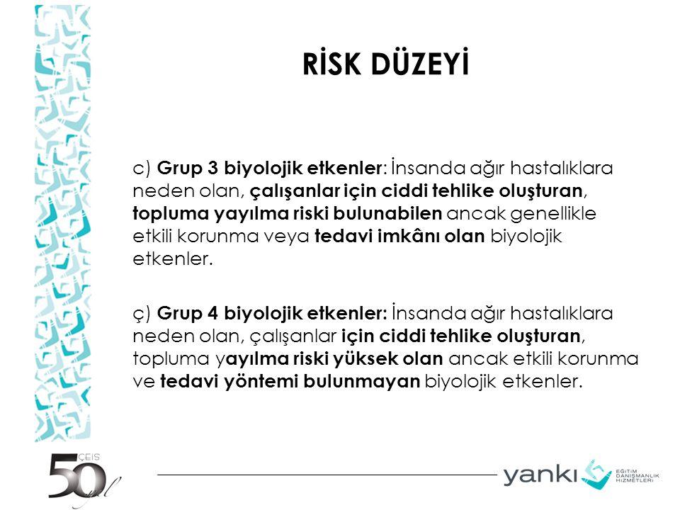 RİSK DÜZEYİ c) Grup 3 biyolojik etkenler : İnsanda ağır hastalıklara neden olan, çalışanlar için ciddi tehlike oluşturan, topluma yayılma riski buluna