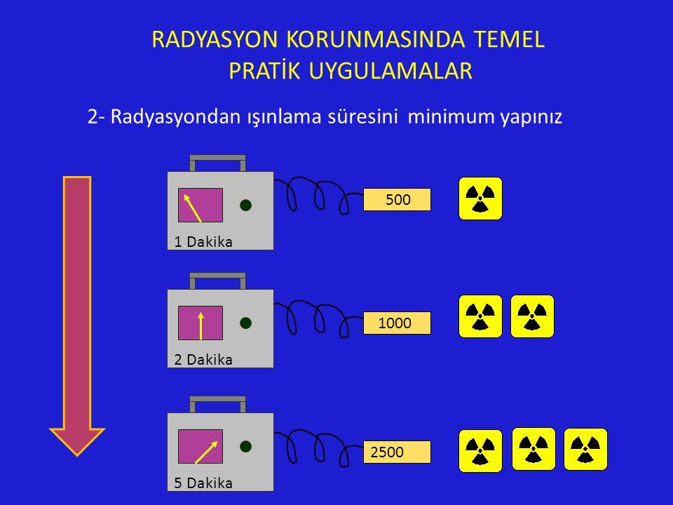 RADYASYON KORUNMASINDA TEMEL PRATİK UYGULAMALAR 2- Radyasyondan ışınlama süresini minimum yapınız 500 1000 5 Dakika 2500 2 Dakika 1 Dakika