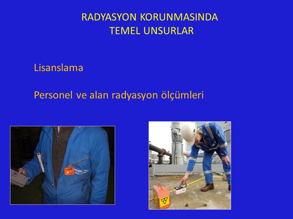 RADYASYON KORUNMASINDA TEMEL UNSURLAR Lisanslama Personel ve alan radyasyon ölçümleri