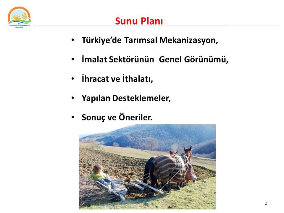 Türkiye'de Tarımsal Mekanizasyon, İmalat Sektörünün Genel Görünümü, İhracat ve İthalatı, Yapılan Desteklemeler, Sonuç ve Öneriler.