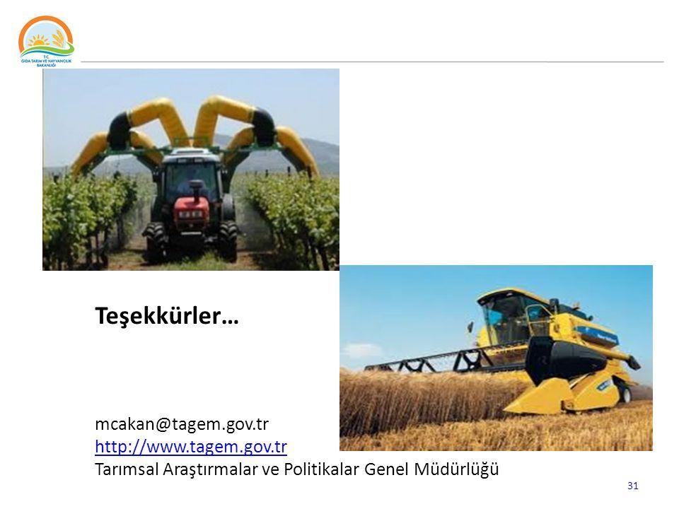 Teşekkürler… mcakan@tagem.gov.tr http://www.tagem.gov.tr Tarımsal Araştırmalar ve Politikalar Genel Müdürlüğü 31