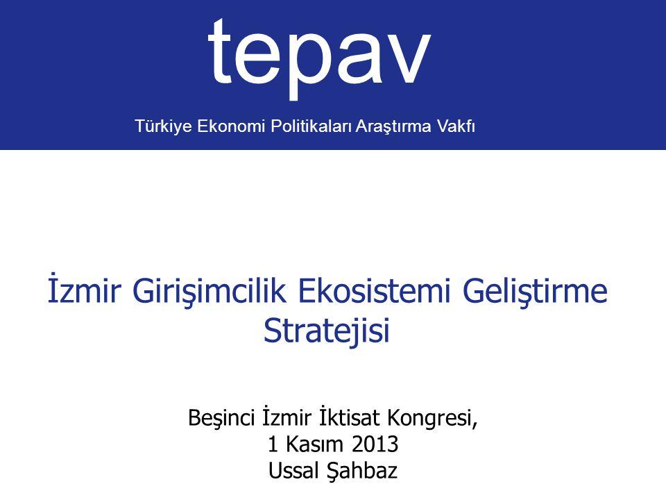 İzmir Girişimcilik Ekosistemi Geliştirme Stratejisi tepav Türkiye Ekonomi Politikaları Araştırma Vakfı Beşinci İzmir İktisat Kongresi, 1 Kasım 2013 Us