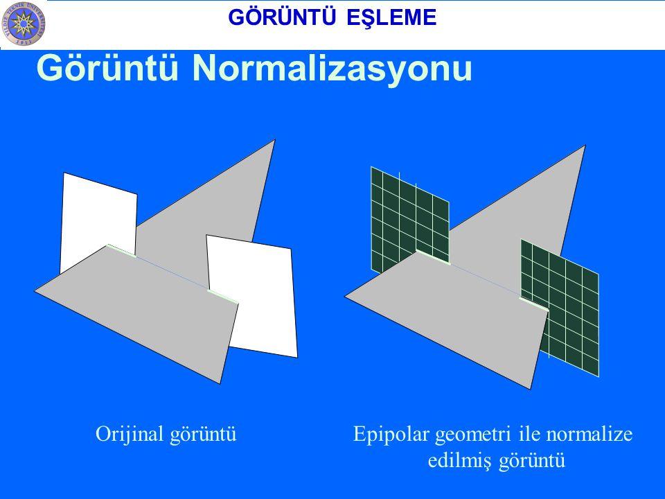 Görüntü Normalizasyonu Epipolar geometri ile normalize edilmiş görüntü Orijinal görüntü GÖRÜNTÜ EŞLEME