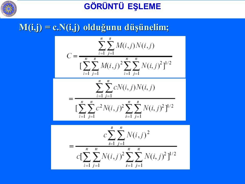 GÖRÜNTÜ EŞLEME M(i,j) = c.N(i,j) olduğunu düşünelim;