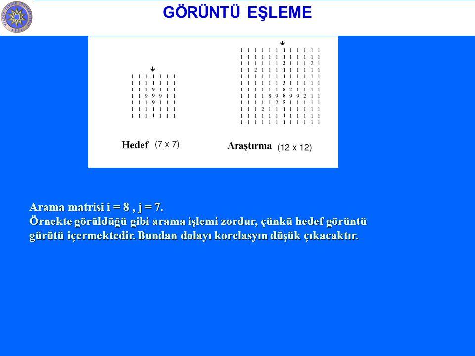 GÖRÜNTÜ EŞLEME Arama matrisi i = 8, j = 7.