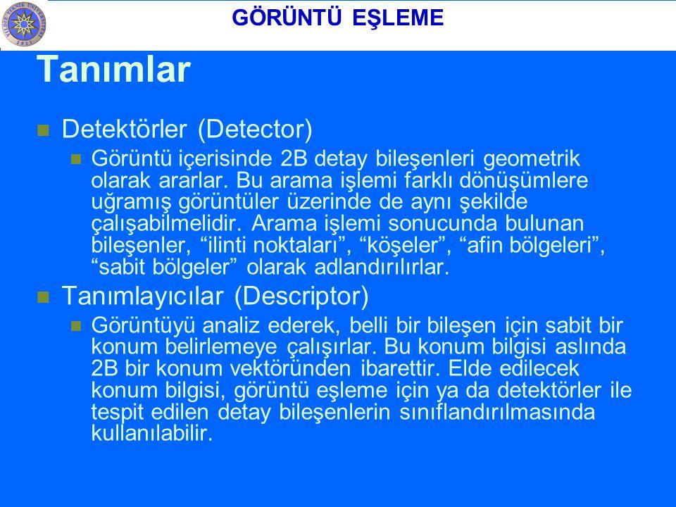Tanımlar Detektörler (Detector) Görüntü içerisinde 2B detay bileşenleri geometrik olarak ararlar.
